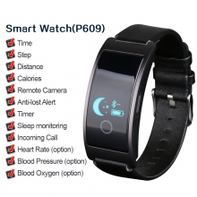 Smart Watches  Charm men's high quality health sports smart black leather fitness watch